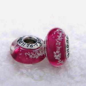 Pandora pair of red bubbles murano glass beads.